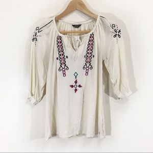 $10 Roots Peasant Tie Front Embroidered Blouse